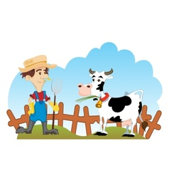 Farmer and cow vector image