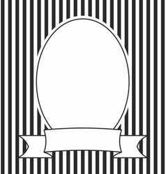 Hand drawn photo frame on black and white stripes vector image