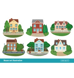 Set cottage and residential houses real estate vector image