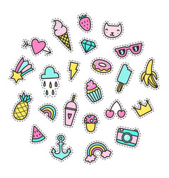 Set of bright cute pins vector