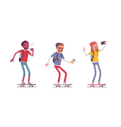 young sporty skaters vector image