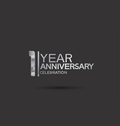 1 year anniversary logotype with silver color vector