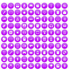 100 information icons set purple vector