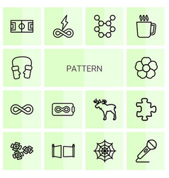 14 pattern icons vector image