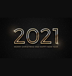 2021 merry christmas and happy new year golden vector image