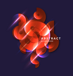 abstract banner with neon circle on a dark vector image
