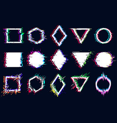 Abstract geometric shapes with glitch effect vector