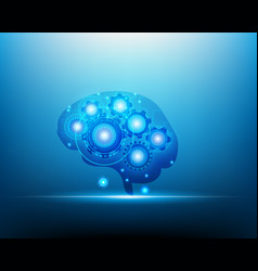 Ai robot network brain over blue background vector
