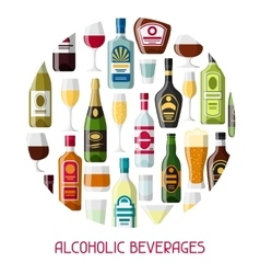 Alcohol drinks background design Bottles glasses vector image