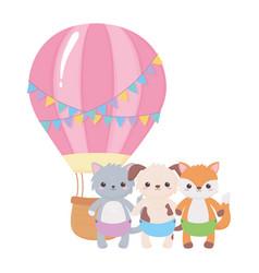 baby shower cute animals air balloon cartoon vector image
