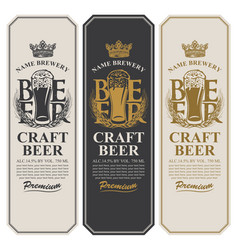 Beer labels with full beer glass and wheat ears vector