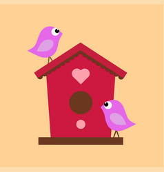 birdhouse with two birds vector image