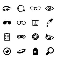 black optometry icon set vector image