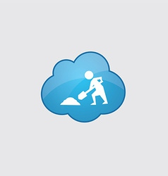 Blue cloud construction works icon vector