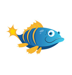 blue fish with yellow stripes sea tropical vector image