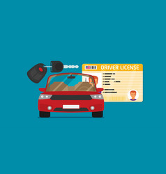 car driver license identification with photo keys vector image