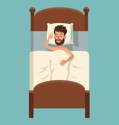 Cartoon beard man sleep covered blanket in bed vector