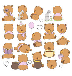 cartoon bears on a light background vector image