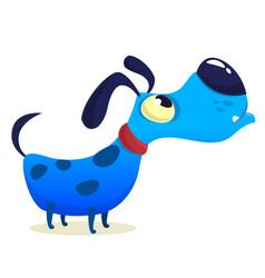 Cartoon blue funny dog vector