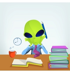Cartoon Office Worker Alien vector image