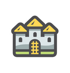 castle ancient stone building icon cartoon vector image