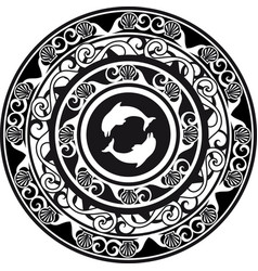 Circular ornament delf and shell black and white vector