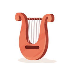 classical wooden lyre with metal strings stringed vector image