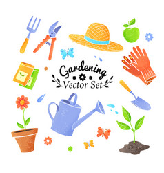 collection icons gardening items vector image