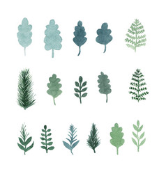 Collection of watercolor hand draw leaves vector