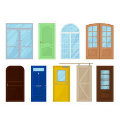 colored doors on white background vector image