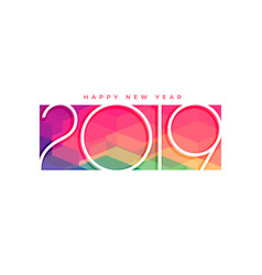 Colorful 2019 happy new year background design vector