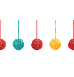 colorful decorative pompoms with ropes vector image