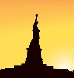 Contour of Statue of Liberty in New York on a vector