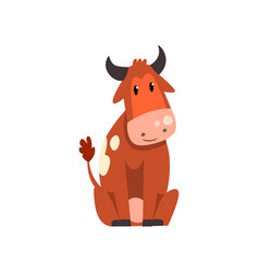 cute brown spotted cow sitting on the ground vector image