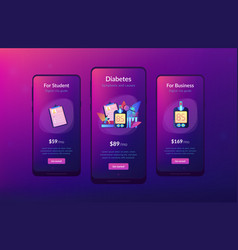 Diabetes mellitus app interface template vector