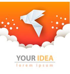 dove paper cloud template vector image
