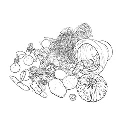 Drawing still life of food and vegetable vector image