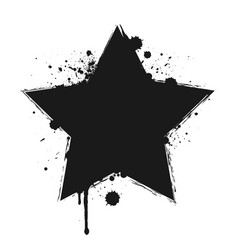 dripping paint or black star brush stroke vector image