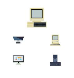 Flat icon laptop set of computing computer pc vector