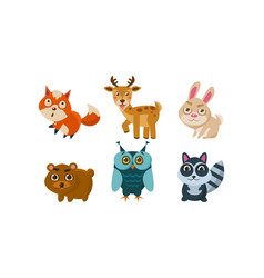 Flat set of cute animals deer red fox vector