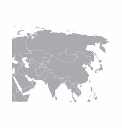 gray asia map vector image
