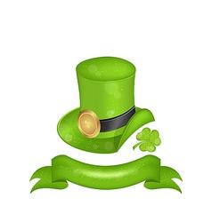 Green hat clover ribbon in saint Patrick Day vector