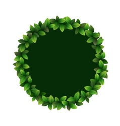 Green leaves circle frame isolated on white vector image