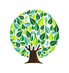 Green tree with people for nature care concept vector