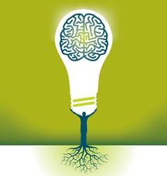 Hand Bulb Brain vector