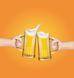 Hands holding glass mugs with beer raised in a vector