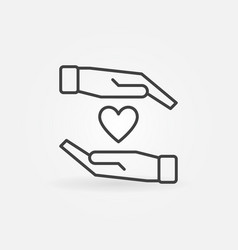 hands with heart icon in thin line style vector image