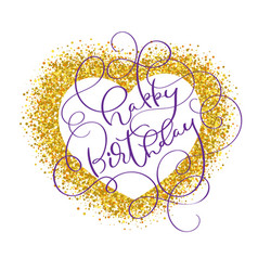 happy birthday text on gold background in form of vector image