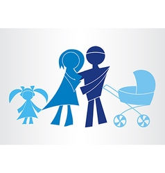 Happy family icons symbols vector image