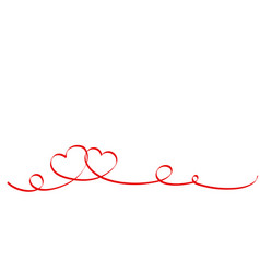 happy valentines day red ribbon hearts isolated vector image